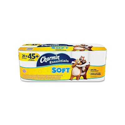 Charmin Essentials Soft 2-Ply Standard Toilet Paper, 200 Sheets/Roll, 20 Rolls/Case (96609)