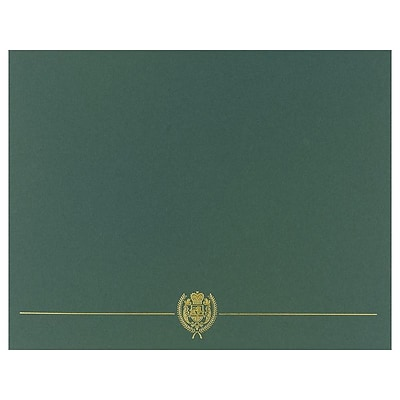 Great Papers Classic Crest Certifcate Covers, Hunter, 5/Pack (903118)