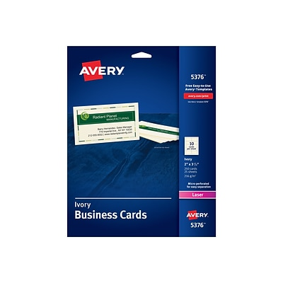 Avery Business Card, 3.5 x 2, Uncoated, Ivory, 250/Pack (5376)