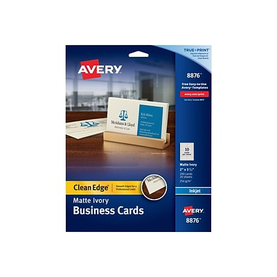 Avery Clean Edge Business Cards, 3.5 x 2, Matte, Ivory, 200/Pack (8876)