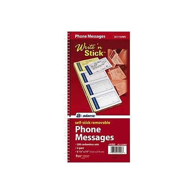 Adams Write N Stick Message Pad, 5.25 x 11, White, 25 Sheets/Pad (SC1153WS)