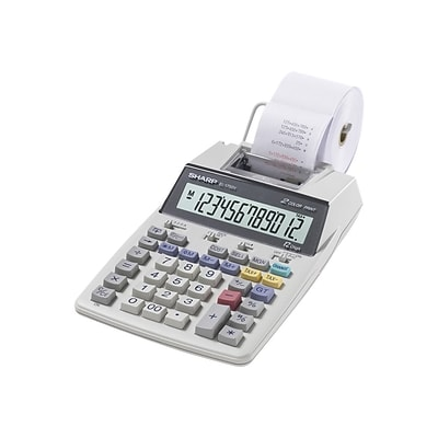 Sharp EL-1750V 12-Digit Desktop Printing Calculator, White