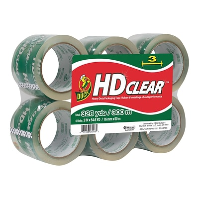 Duck HD Clear, Acrylic Packing Tape, 3 x 54.6 yds., 6/Pack (307352)