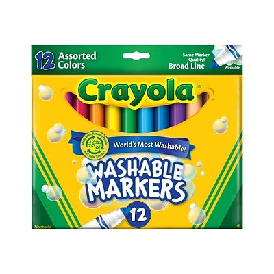 Crayola Ultra-Clean Washable Markers, Broad Line, Assorted Colors, 12/Box (58-7812)