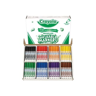 Crayola Ultra-Clean Washable Markers, Broad Line, Assorted Colors, 200/Carton (58-8200)