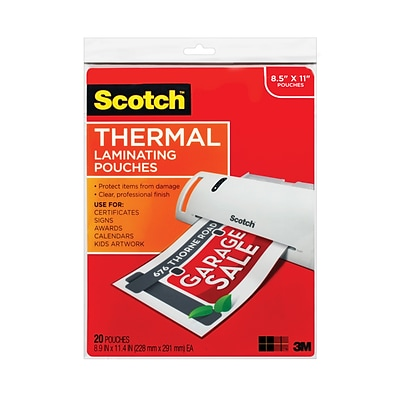 Scotch™ Thermal Pouches, Letter size, 20 Pouches (TP3854-20)