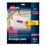 Avery High-Visibility Laser Multipurpose Labels, 1 x 2 5/8, Neon Magenta, 30/Sheet, 25 Sheets/Pack