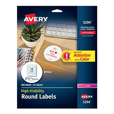 Avery High Visibility Laser Shipping Labels, 2.5Dia., White, 300/Pack (5294)