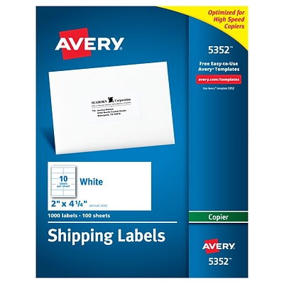 Avery Copier Shipping Labels 2 X 4 14 White 10sheet 10