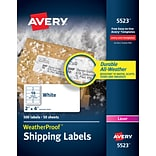Avery WeatherProof Laser Shipping Labels, 2 x 4, White, 10 Labels/Sheet, 50 Sheets/Box (5523)