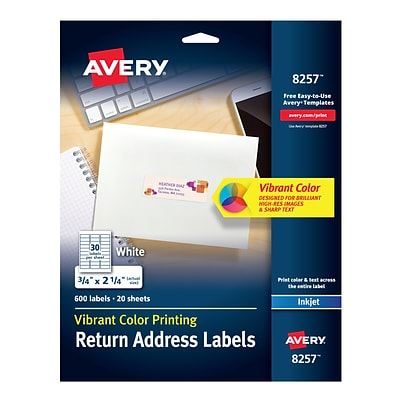 Avery Color Printing Inkjet Address Labels, 3/4 x 2 1/4, White, 30 Labels/Sheet, 20 Sheets/Pack (8257)