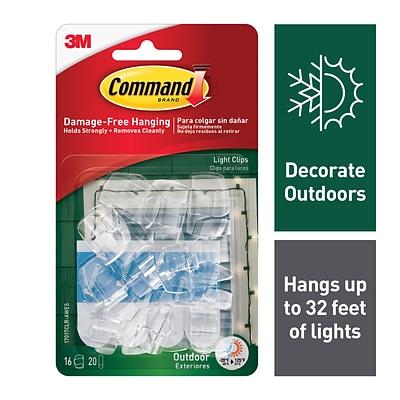 Command™ Outdoor Light Clips, Clear, 16 Clips (17017CLR-AWES)