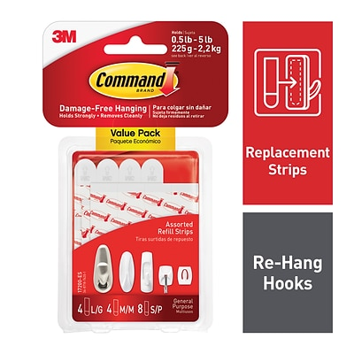 Command™ Refill Strips, White, 8 Small, 4 Medium, 4 Large Sets/Pack (17200-ES)