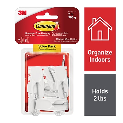 Command™ Medium Wire Hook Value Pack, White, 7 Hooks (17065-7ES)