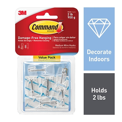 Command™ Clear Medium Wire Hook Value Pack, 6 Hooks (17065CLR-6ES)