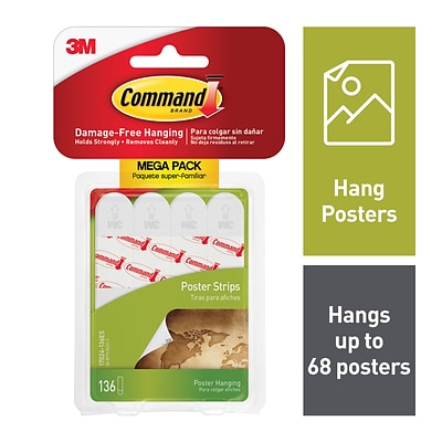 Command™ Poster Strips Value Pack, White, 136 Strips (17024-136ES)