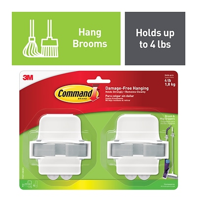 Command™ Broom & Mop Gripper, White/Gray, 2 Grippers (17007-HW2ES)