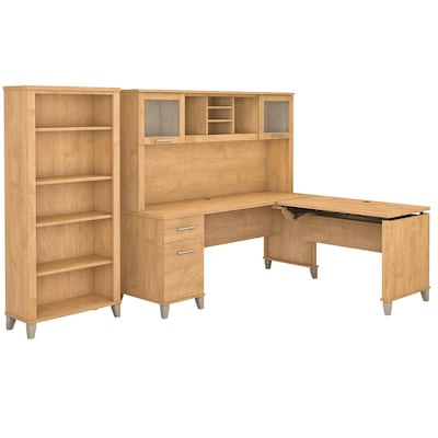 Bush Furniture Somerset 72w 3 Position Sit To Stand L Shaped Desk With Hutch And Bookcase Maple Cross Set017mc
