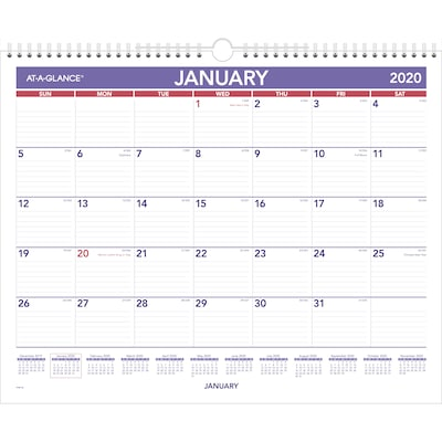"2020 AT-A-GLANCE 15"" x 12"" Monthly Wall Calendar (PM82820)"