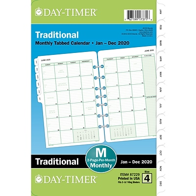 2020 Day-Timer®  5 1/2 x 8 1/2 Classic Two Page Per Month Refill, 12 Months, January Start, Loose-Leaf, Desk Size (87229-2001)