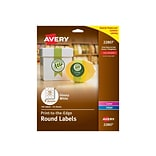 Avery Easy Peel Laser/Inkjet Multipurpose Labels, 2 Dia, Glossy White, 12 Labels/Sheet, 10 Sheets/P