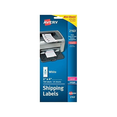 Avery Mini-Sheets Laser/Inkjet Shipping Labels, 2 x 4, White, 4 Labels/Sheet, 25 Sheets/Pack (2163)