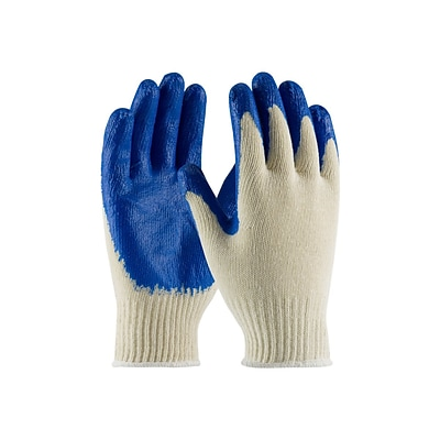 PIP Cotton/Polyester Latex Gloves, Natural/Blue, Dozen (39-C122/S)