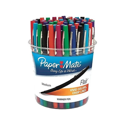 Paper Mate Flair Felt Pens, Medium Point, Assorted Colors Ink, 48/Pack (4651)