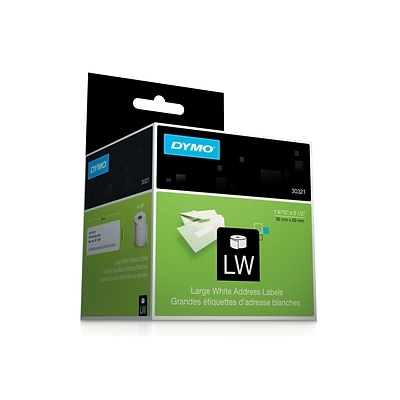 Dymo LabelWriter Large Address 30321 Label Printer Labels, 1.4W, Black On White, 260 Labels/Roll, 2 Rolls/Pack