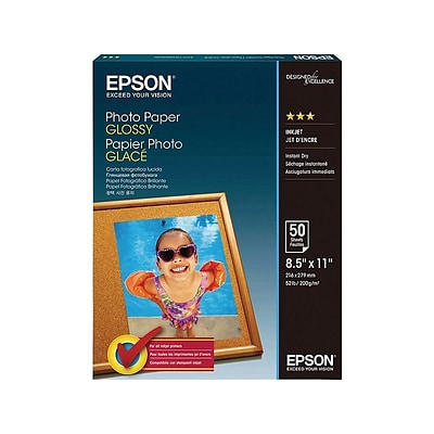 Epson Glossy Photo Paper, 8.5 x 11, 50/Pack (S041649)