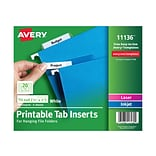 Avery Printable Tab Inserts, 0.5 x 2, White, 100/Pack (11136)