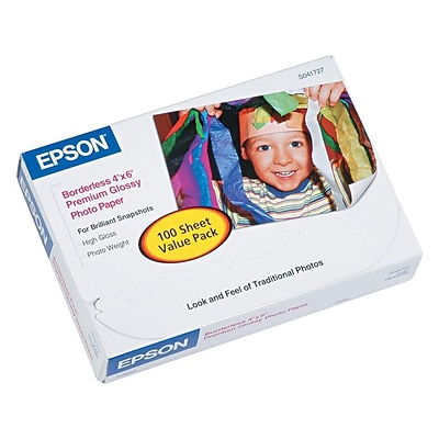 Epson Premium Glossy Photo Paper, 4 x 6, 100/Pack (S041727)