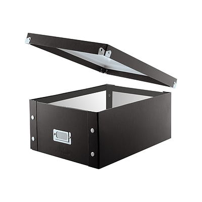 Snap-N-Store Double-Wide Storage Box for CD/DVD, Black PVC (SNS01658)