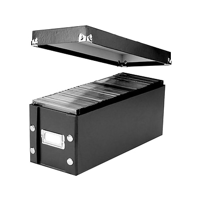Snap-N-Store Storage Box for CD/DVD, Black PVC (SNS01521)