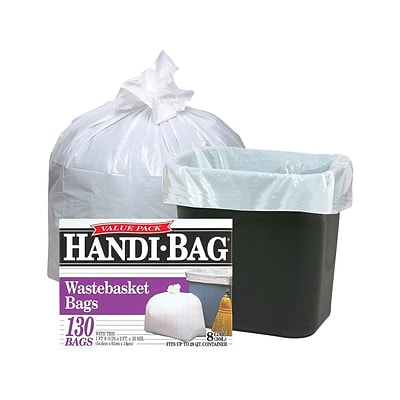 Webster Handi-Bag 8 Gal. Tall Kitchen Trash Bags, White, 130 Bags/Box (HAB6FW130-657501)