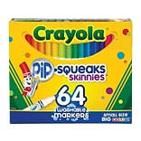 Crayola Pip-Squeaks Skinnies Washable Markers, Assorted Colors, 64/Box (58-8764)