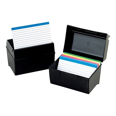 Oxford Index Card File Box, Black, 300 Card Capacity (OXF 01351)