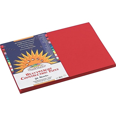 SunWorks 12W x 18L Heavyweight Construction Paper, Holiday Red, 50/Pack (9907)