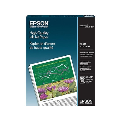 Epson High Quality 8.5 x 11 Color Copy Paper, 24 lbs., 89 Brightness, 100/Pack (S041111)
