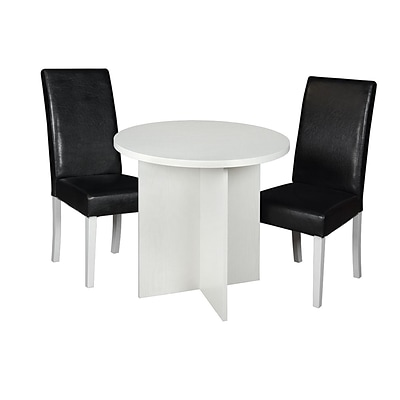 Niche Mod 30 Round Table- White Wood Grain & 2 Tyler Dining Chairs- Black/White