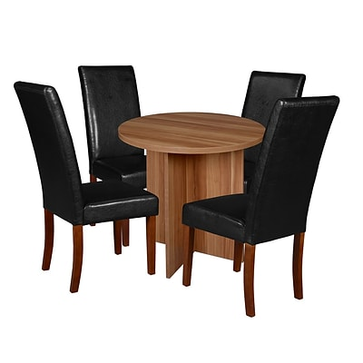 Niche Mod 30 Round Table- Warm Cherry & 4 Tyler Dining Chairs- Black/Cherry