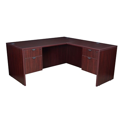 Legacy 66 Double Pedestal L-Desk with 47 Return, Mahogany Laminate (LLD663047MH)