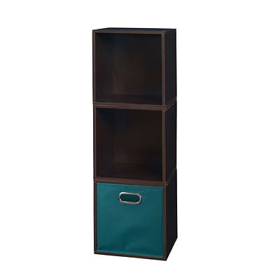 Niche Cubo Storage Set - 3 Cubes and 1 Canvas Bin- Truffle/Teal