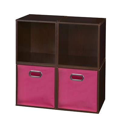 Niche Cubo Storage Set - 4 Cubes and 2 Canvas Bins- Truffle/Pink