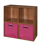 Niche Cubo Storage Set - 4 Cubes and 2 Canvas Bins- Warm Cherry/Pink