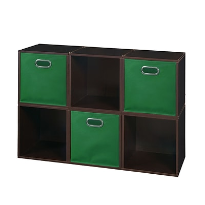 Niche Cubo Storage Set - 6 Cubes and 3 Canvas Bins- Truffle/Green