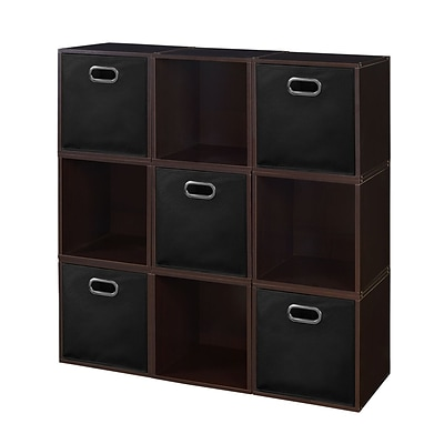 Niche Cubo Storage Set - 9 Cubes and 5 Canvas Bins- Truffle/Black