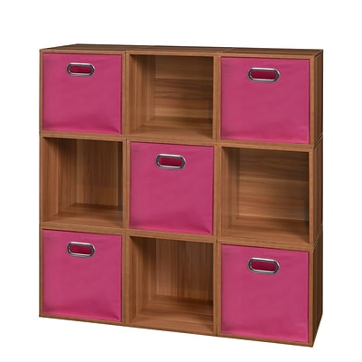 Niche Cubo Storage Set - 9 Cubes and 5 Canvas Bins- Warm Cherry/Pink