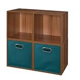 Niche Cubo Storage Set - 4 Cubes and 2 Canvas Bins- Warm Cherry/Teal
