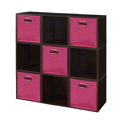 Niche Cubo Storage Set - 9 Cubes and 5 Canvas Bins- Truffle/Pink